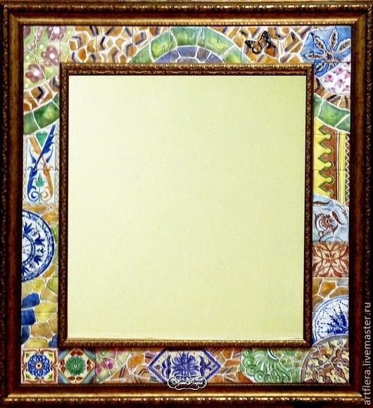Зеркала ручной работы. Ярмарка Мастеров - ручная работа. Купить Зеркало В парке Гуэль Роспись керамики. Handmade. Зеркало