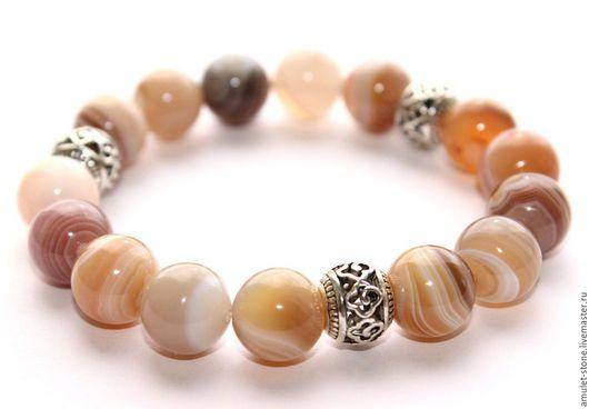 Браслет из бразильского агата, натуральные камни. Стильный браслет, натуральные камни, ручная работа, Ярмарка мастеров, Handmade. Купить авторские украшения магазина Amulet-Stone