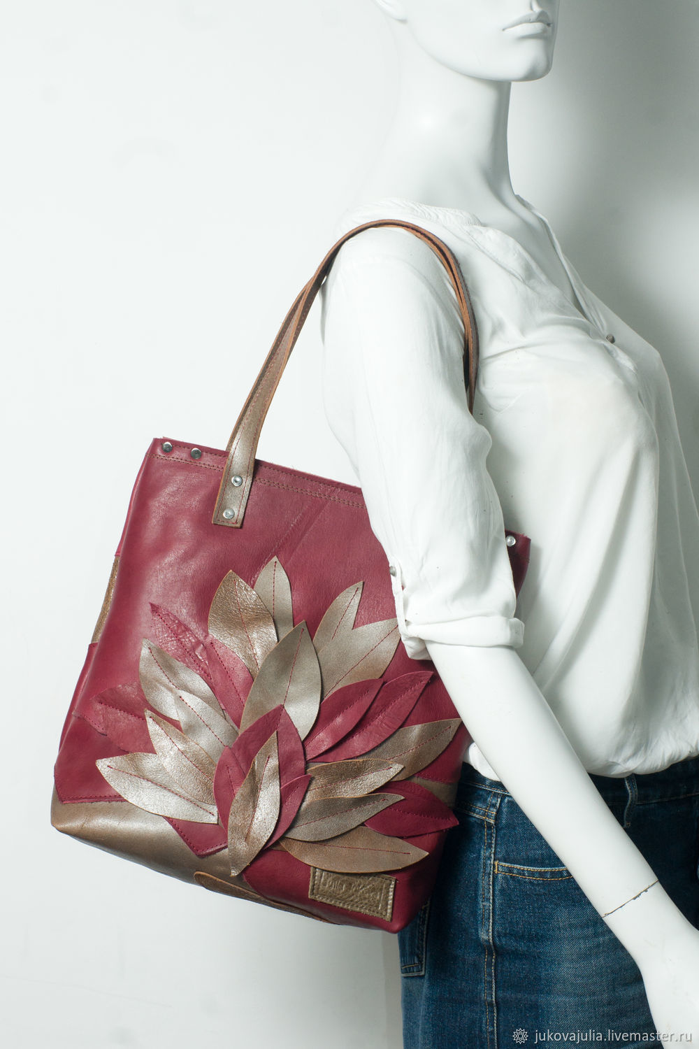 tote bag: genuine leather, patchwork bag with lotus, Tote Bag, Stavropol,  Фото №1