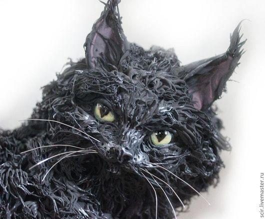 """Игрушки животные, ручной работы. Ярмарка Мастеров - ручная работа. Купить фигурка большая """"Кот породы мейн кун"""" (черная кошка). Handmade."""