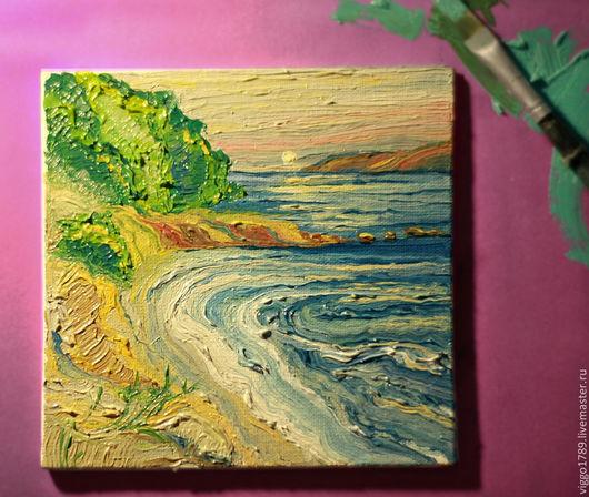 """Пейзаж ручной работы. Ярмарка Мастеров - ручная работа. Купить Маленькая картина маслом """"Рассвет"""". Handmade. Разноцветный, гавань"""