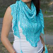 """Аксессуары ручной работы. Ярмарка Мастеров - ручная работа бактус, шаль, шарф, ажурный шарф, шейный платок  """"Бирюза"""". Handmade."""