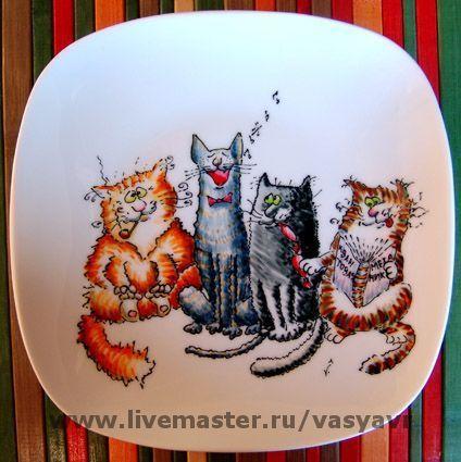Тарелки ручной работы. Ярмарка Мастеров - ручная работа. Купить Коты. Handmade. Кот, коты, Кошки, тарелка, роспись на посуде