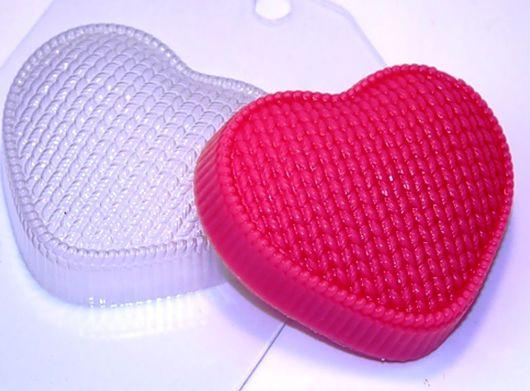 `Сердце вязаное` форма для мыла пластиковая