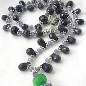 handmade. Livemaster - original item NECKLACE with PENDANT - EMERALD - SAPPHIRES briolette TANZANITE beads.. Handmade.