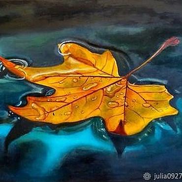 Картины и панно ручной работы. Ярмарка Мастеров - ручная работа Картина маслом Осенний лист желтый кленовый лист гиперреализм на холст. Handmade.