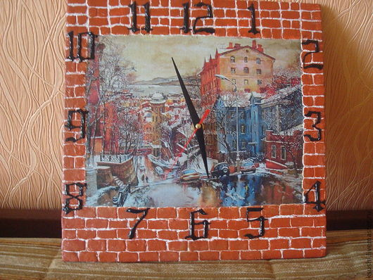Часы для дома ручной работы. Ярмарка Мастеров - ручная работа. Купить Часы Мой город.... Handmade. Оранжевый