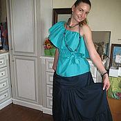 Одежда ручной работы. Ярмарка Мастеров - ручная работа юбка из  хлопка темно-синяя. Handmade.