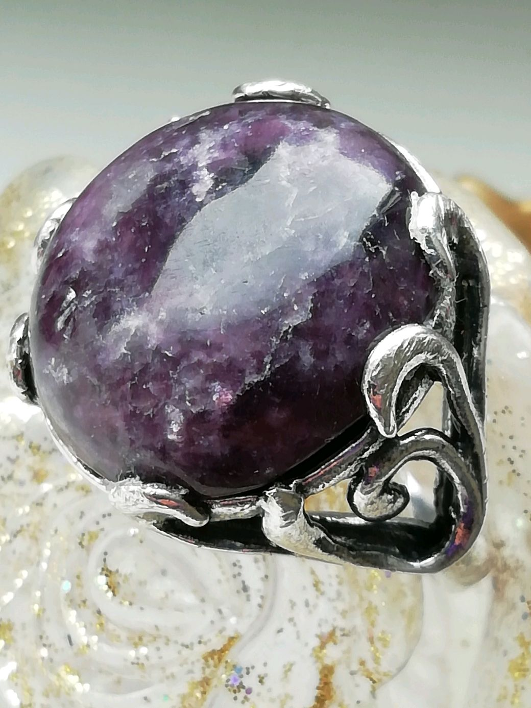 Ring with natural lepidolite ' CHERRY WHISKEY', Ring, Moscow,  Фото №1