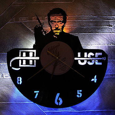 For home and interior handmade. Livemaster - original item Wall clock with LED backlight from Dr. house records. Handmade.