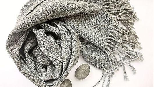 Шарфы и шарфики ручной работы. Ярмарка Мастеров - ручная работа. Купить Шарф Stone домоткань, итальянский твид/шерсть. Handmade. Серый