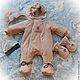"""Одежда ручной работы. Ярмарка Мастеров - ручная работа. Купить Утепленный комбинезон для новорожденных """"Кремовая  нежность"""". Handmade. Бежевый, на выписку"""