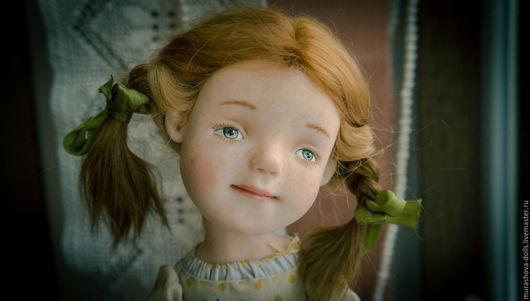 Коллекционные куклы ручной работы. Ярмарка Мастеров - ручная работа. Купить Девочка в желтый горошек. Handmade. Лимонный, трессы