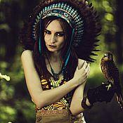 Одежда handmade. Livemaster - original item Indian headdress - Turquoise Flight. Handmade.