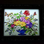 Для дома и интерьера handmade. Livemaster - original item STAINEDGLASSLAMP Lamp stained glass Floral mix. Handmade.