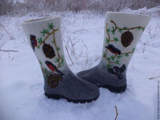 Обувь ручной работы. Ярмарка Мастеров - ручная работа. Купить валенки женские снегири. Handmade. Валенки на подошве, в подарок женщине