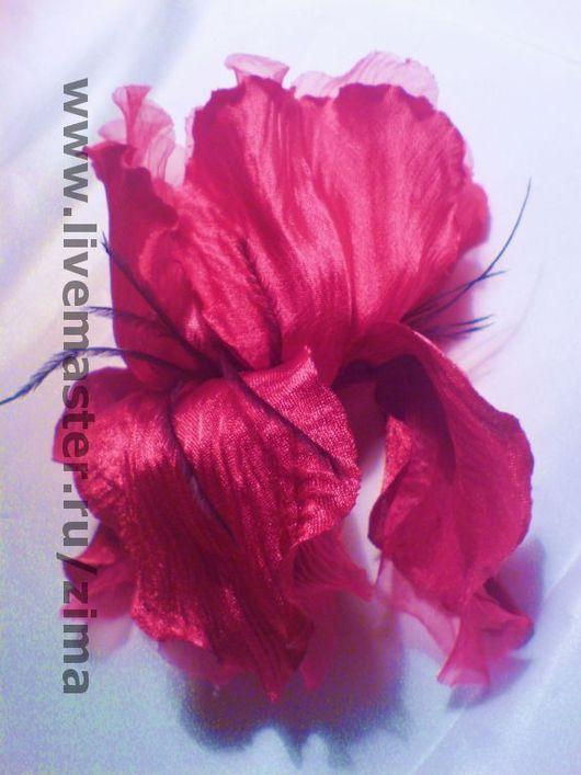 Броши ручной работы. Ярмарка Мастеров - ручная работа. Купить Цветок французских королев. Handmade. Ирис, атласный цветок