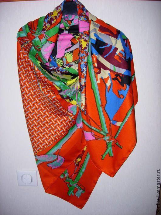 Шали, палантины ручной работы. Ярмарка Мастеров - ручная работа. Купить Платок  шелковый. Handmade. Комбинированный, платок, большой, шелк, шёлк