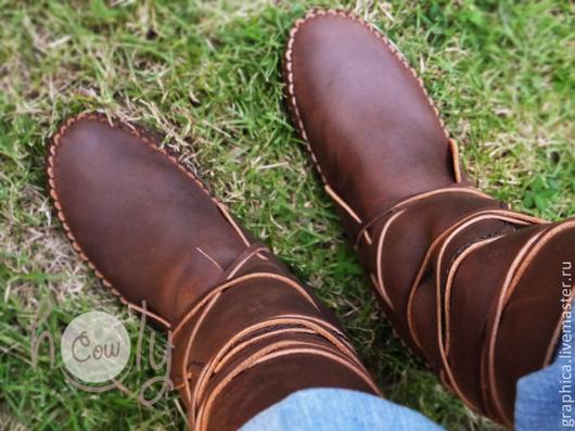 """Обувь ручной работы. Ярмарка Мастеров - ручная работа. Купить Коричневые кожаные мокасины """"Crazy Horse"""". Handmade. Коричневый"""