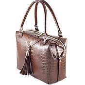 Женская кожаная сумка-саквояж 192
