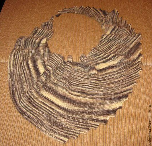Мини шаль, бактус, шарф ручной работы. Ярмарка мастеров - ручная работа. Купить шарф - бактус женский вязаный. Handmade. Бактус женский меланжевый, бежевый, полосатый, секционный