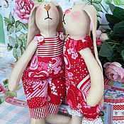 Куклы и игрушки ручной работы. Ярмарка Мастеров - ручная работа Тильда кролики Сердешные. Handmade.