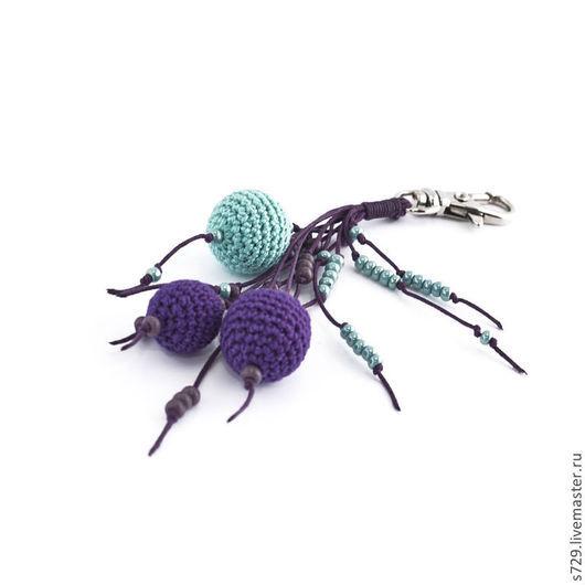 фиолетовый, фиолет, брелок, брелок для ключей, брелок на сумку, брелок для сумки, брелок на ключи, брелоки, вязаные украшения, небольшой подарок, мятный, мятный цвет, мята, мятный и фиолетовый, летний аксессуар, яркий аксессуар, яркое лето, аксессуары ручной работы, Аксессуары handmade