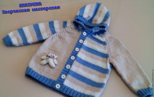 """Одежда для мальчиков, ручной работы. Ярмарка Мастеров - ручная работа. Купить Вязаная кофта с капюшоном  для малыша """"Мишутка"""". Handmade. Голубой"""