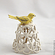 Bell Canary. Christmas tree ornament. Ceramics Elena Zaichenko