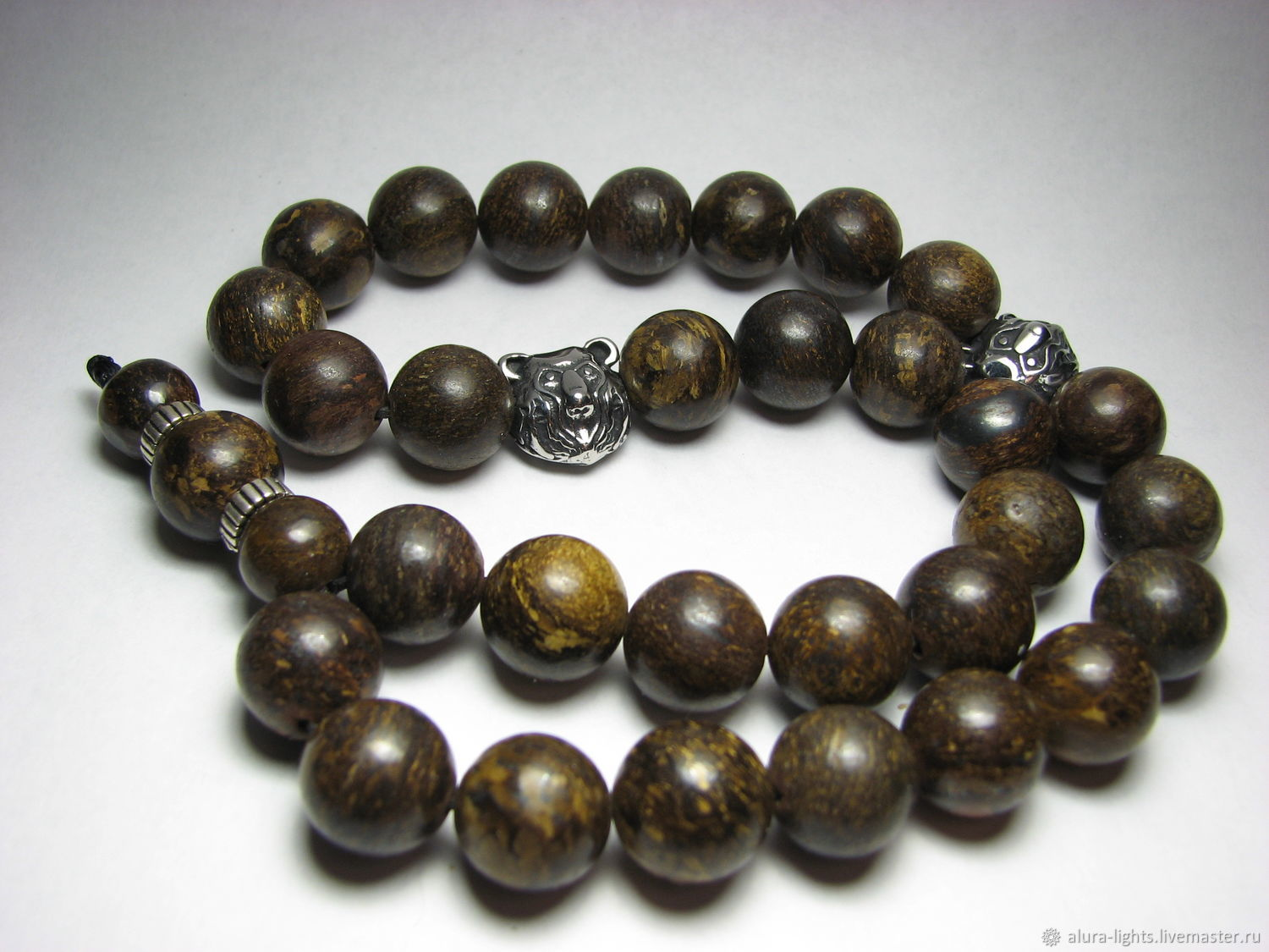Rosary `Russian bear` Bronzit and steel