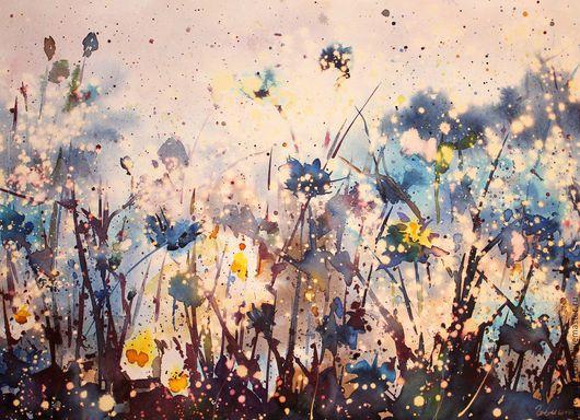 Пейзаж ручной работы. Ярмарка Мастеров - ручная работа. Купить Цветочная соната. Handmade. Разноцветный, цветы, поле, полевые цветы