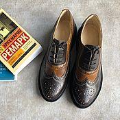 Обувь ручной работы handmade. Livemaster - original item Oxford shoes brown / chocolate black smooth sole. Handmade.