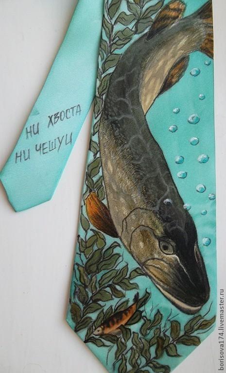 """Галстуки, бабочки ручной работы. Ярмарка Мастеров - ручная работа. Купить Галстук-талисман """"Рыбацкий"""". Handmade. Бирюзовый, галстук, рыбак"""