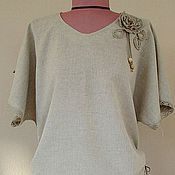 Blouses handmade. Livemaster - original item Linen blouse with lace. Handmade.