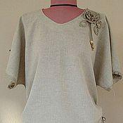 Одежда ручной работы. Ярмарка Мастеров - ручная работа Блузка льняная с кружевом. Handmade.