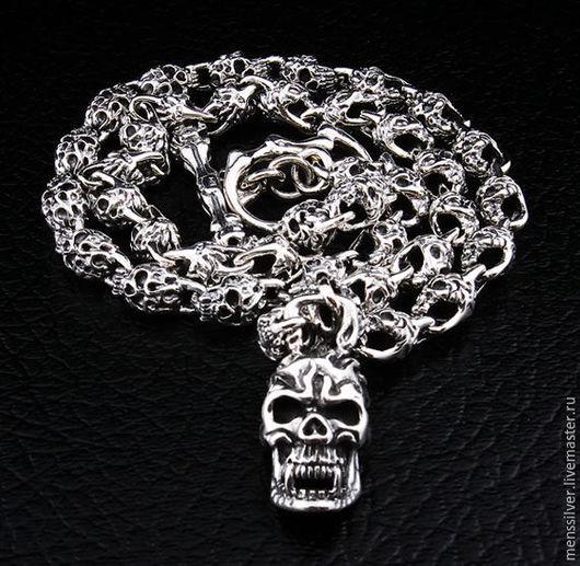 Серебряная 925 пробы готическая мужская Цепочка `Огненный череп`