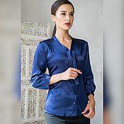 Блузки ручной работы. Ярмарка Мастеров - ручная работа Блузка синяя. Handmade.