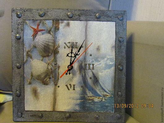 """Часы для дома ручной работы. Ярмарка Мастеров - ручная работа. Купить часы настенные """"Морской бриз"""". Handmade. Голубой"""