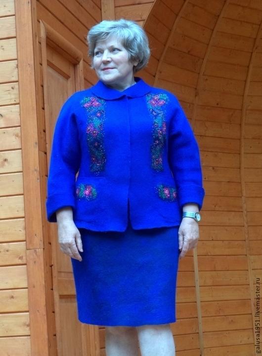 """Костюмы ручной работы. Ярмарка Мастеров - ручная работа. Купить Костюм валяный  """"Синева"""". Handmade. Синий, нарядный костюм, шёлк"""