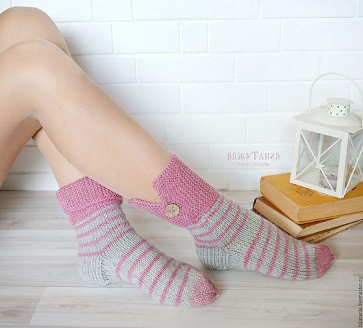 Носки, Чулки ручной работы. Ярмарка Мастеров - ручная работа. Купить Носочки с воротничком р-р 38. Handmade. Розовый