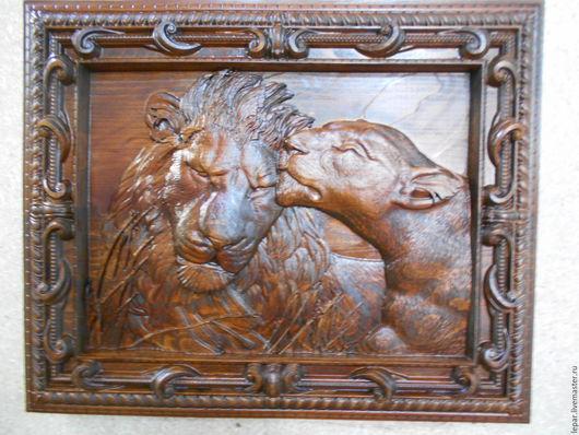 Животные ручной работы. Ярмарка Мастеров - ручная работа. Купить Лев и львица. Панно №2. Handmade. Коричневый, панно настенное