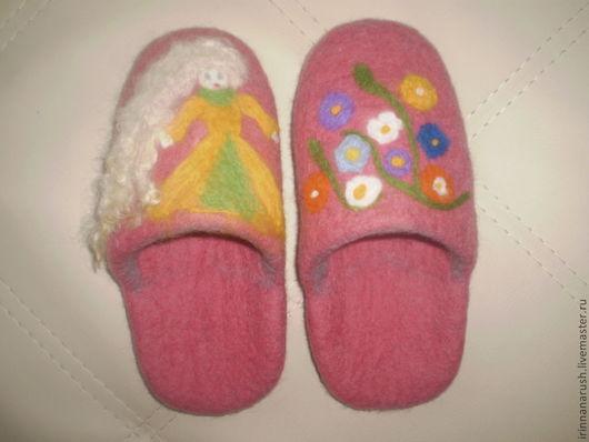 Детская обувь ручной работы. Ярмарка Мастеров - ручная работа. Купить Валяные детские тапки. Handmade. Розовый, войлок