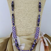 handmade. Livemaster - original item Long necklace of agate and clear quartz