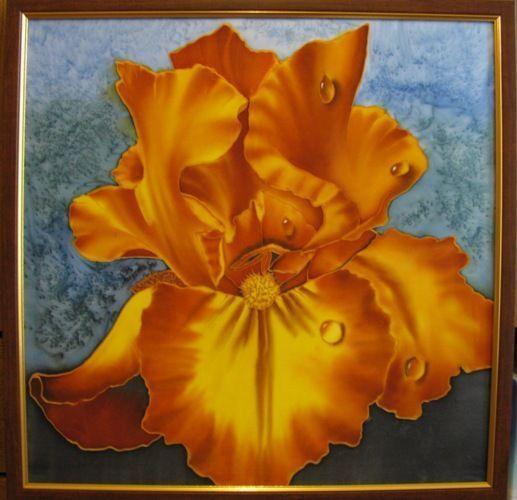 Картины цветов ручной работы. Ярмарка Мастеров - ручная работа. Купить Картина ИРИС. Handmade. Батик, цветы, ирис