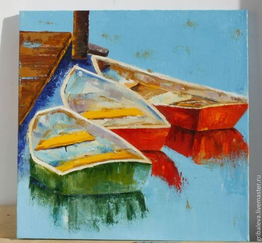 Пейзаж ручной работы. Ярмарка Мастеров - ручная работа. Купить 95. Причал Картина маслом мастихин 40 на 40 см. Handmade.
