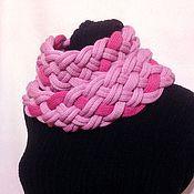Аксессуары ручной работы. Ярмарка Мастеров - ручная работа Розовый Шарф-коса. Handmade.