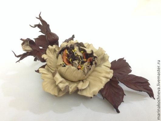"""Броши ручной работы. Ярмарка Мастеров - ручная работа. Купить Брошь из кожи  """"Ванильная фантазия"""". Handmade. Коричневый, роза"""