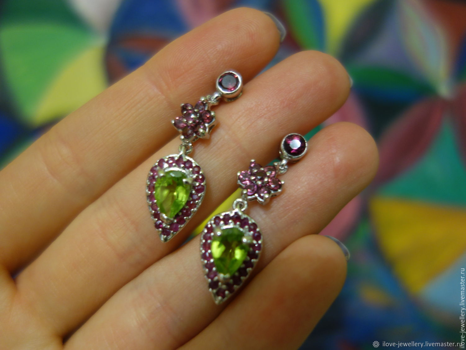 'Chloe'-a spectacular silver. earrings with peridot, rubies, Earrings, Moscow,  Фото №1
