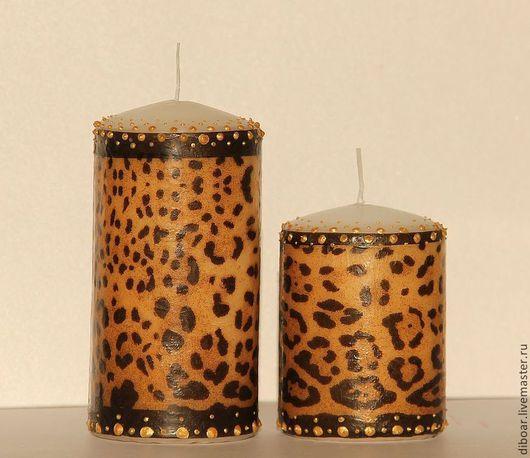 Свечи ручной работы. Ярмарка Мастеров - ручная работа. Купить Свечи леопардовые. Handmade. Коричневый, свечи ручной работы