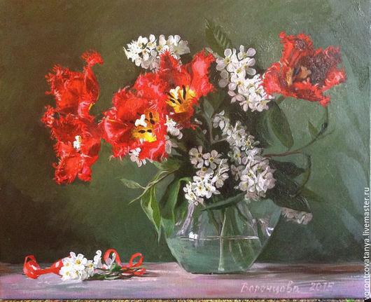 """Картины цветов ручной работы. Ярмарка Мастеров - ручная работа. Купить """"Разговор с тюльпанами"""". Handmade. Комбинированный, тюльпаны, натюрморт с цветами"""